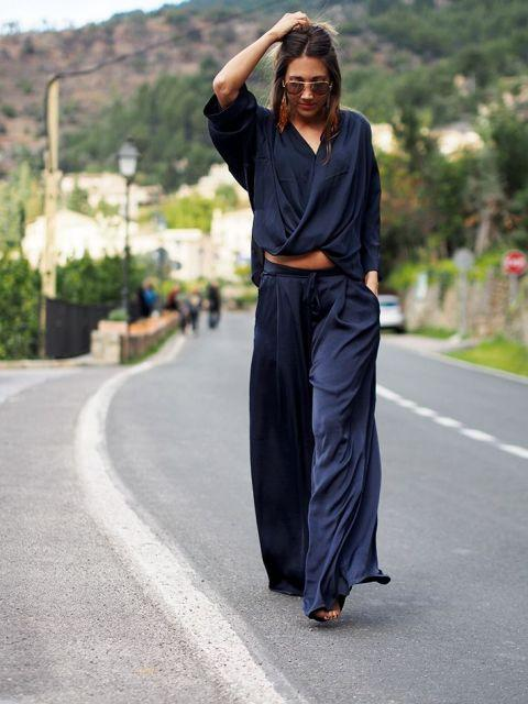 With navy blue wrap blouse and shoes