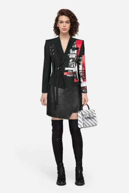 With printed blazer, printed bag and black over the knee flat boots