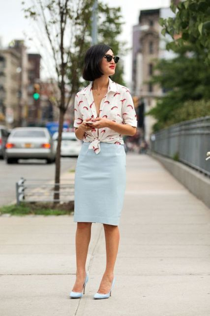 With printed button down shirt and light blue pumps