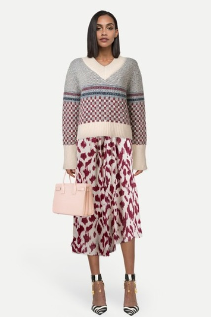 With printed midi skirt, zebra printed ankle strap shoes and pale pink bag