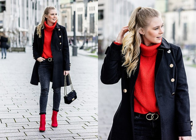 With red turtleneck, dark colored jeans, red ankle boots and knee-length coat