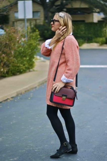 With white shirt, black tights, black flat shoes and black, red and marsala bag