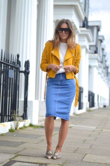 With white sweater, denim pencil skirt and printed shoes