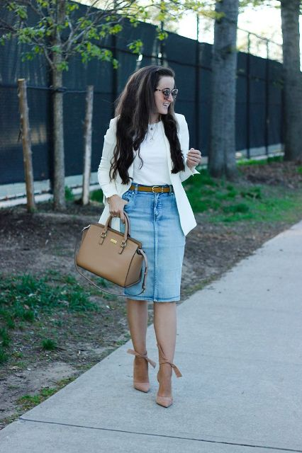 With white t-shirt, white long blazer, brown bag and beige high heels