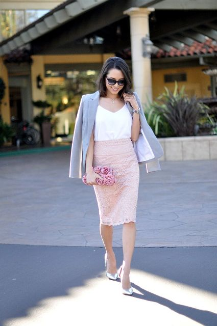 With white top, gray blazer, pink clutch and silver pumps