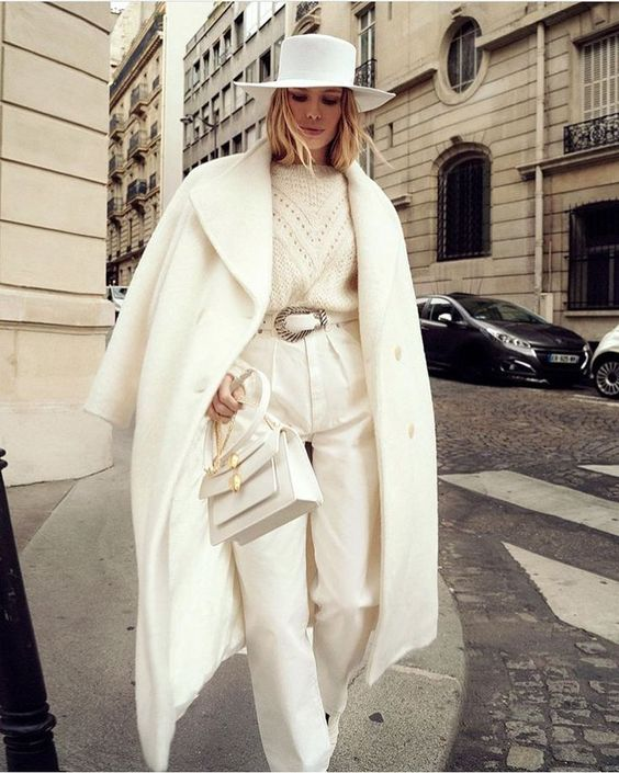 an all-white winter look