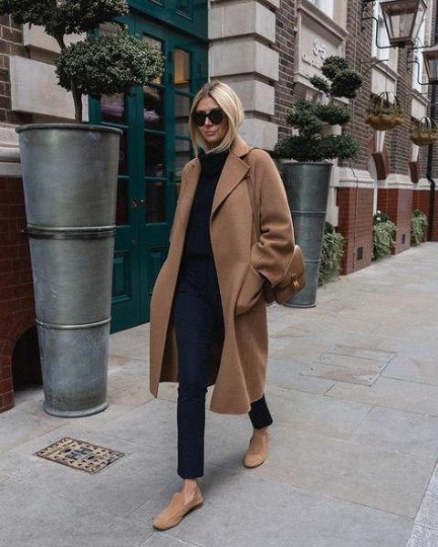 a simple look with a black turtleneck, navy jeans, camel loafers and a coat plus a brown bag