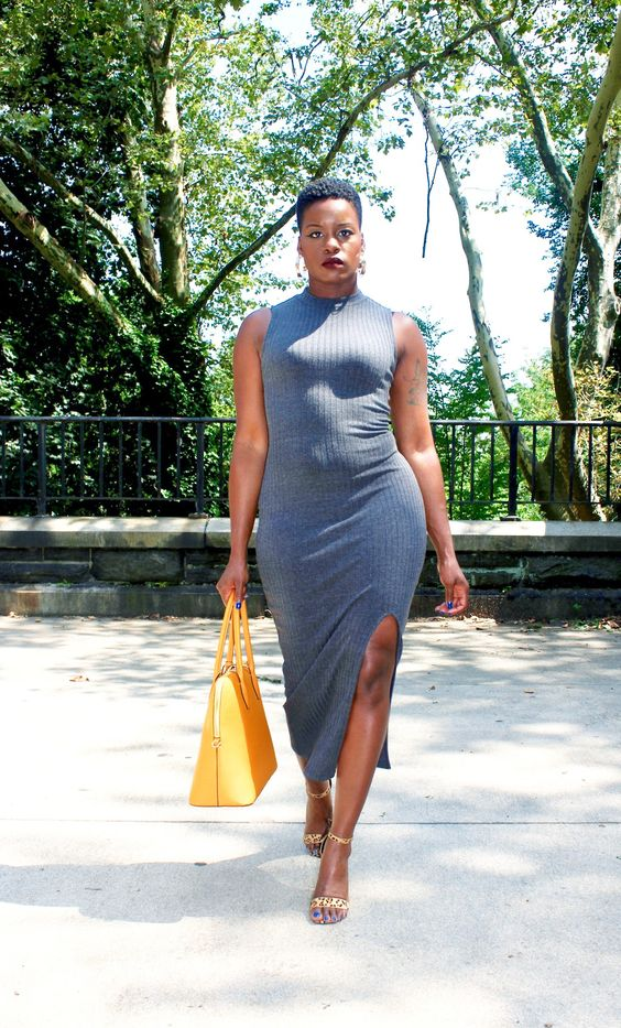 a sleeveless halter neckline midi grey dress, a yellow bag and yellow printed shoes for a super trendy look