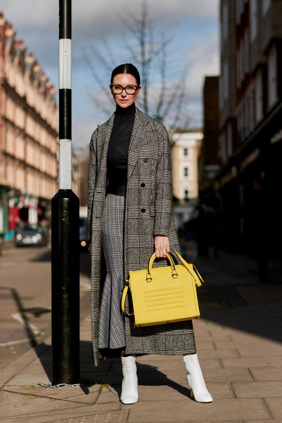 a chic winter work look in grays