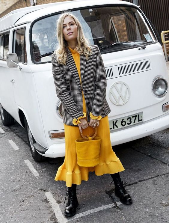 a yellow midi turtleneck dress, a gingham blazer, black boots and a yellow bucket bag
