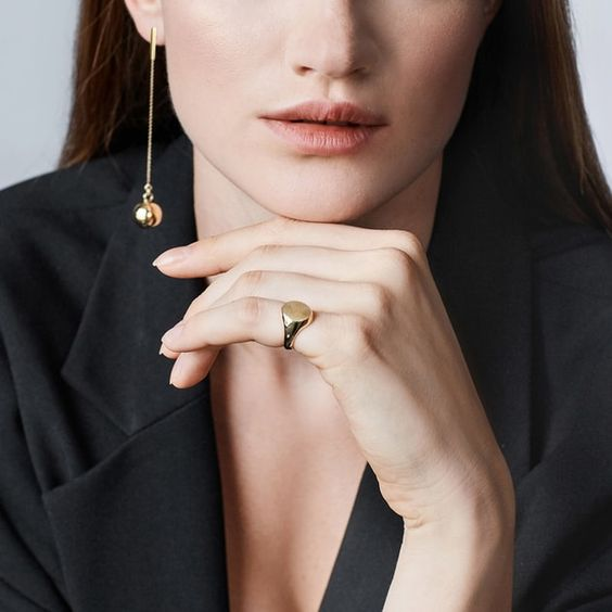 beautiful modern gold ball drop earrings with chains look very stylish and will accent many looks