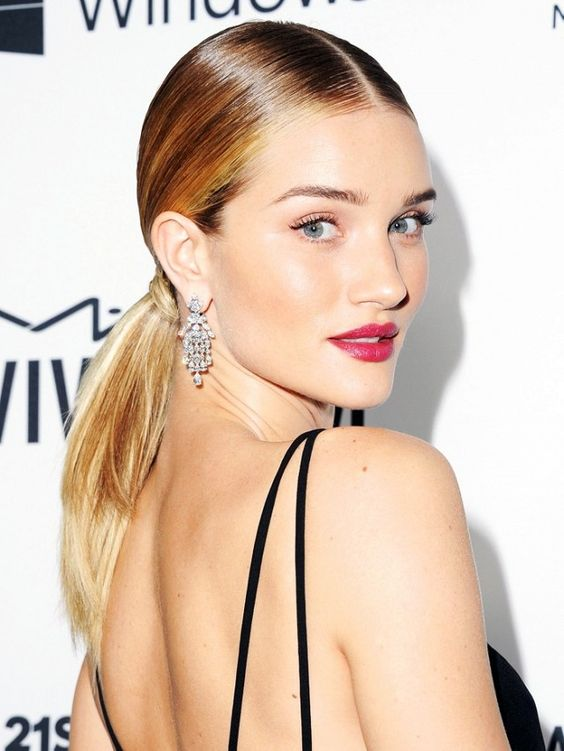 a sleek and low ponytail will fit both casual and party looks easily as it's very universal