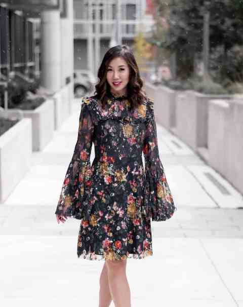 A floral printed ruffle knee length dress