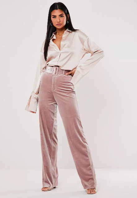 With beige satin button down shirt and transparent shoes
