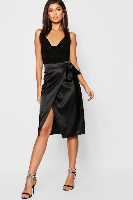 With black top and black and white ankle strap high heels