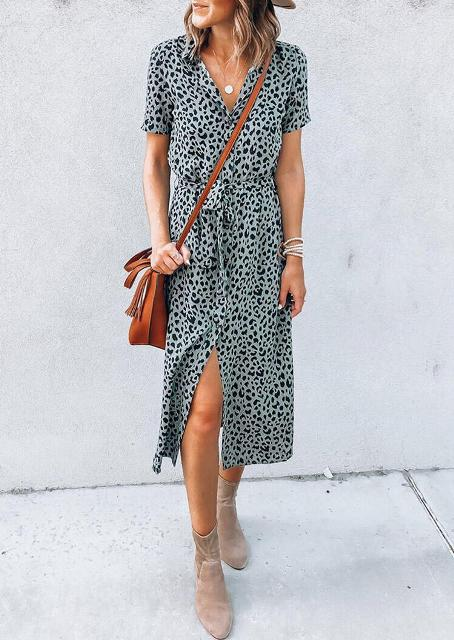 With brown leather crossbody bag and gray suede ankle boots