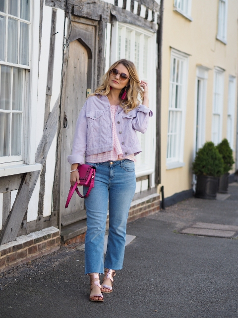 With checked blouse, pink bag, cropped jeans and golden sandals