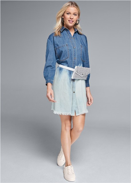 With denim dress and white sneakers