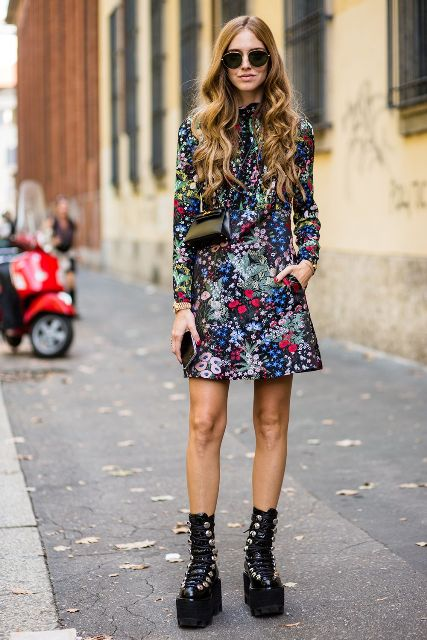 With floral printed mini dress and mini bag