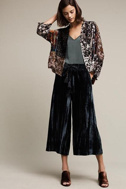 With gray top, loose cardigan and brown heeled mules