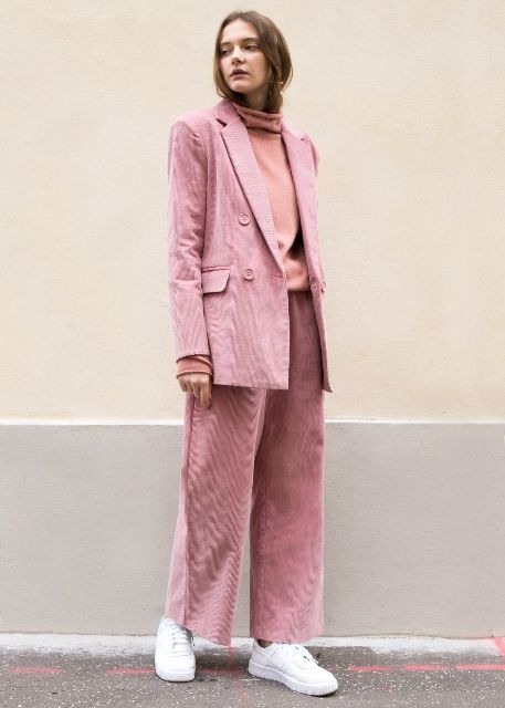 With pale pink turtleneck, pale pink loose blazer and white sneakers