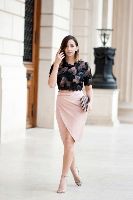 With printed crop top, clutch and ankle strap shoes