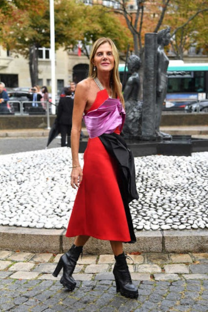 With red, pink and black midi dress