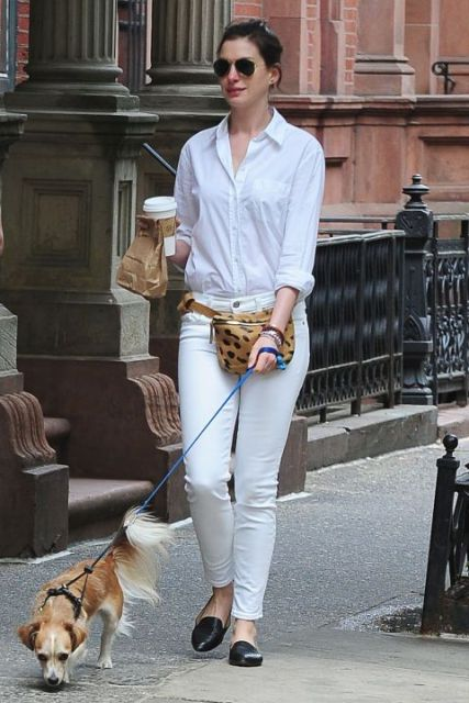 With white button down shirt, white pants and black flat shoes