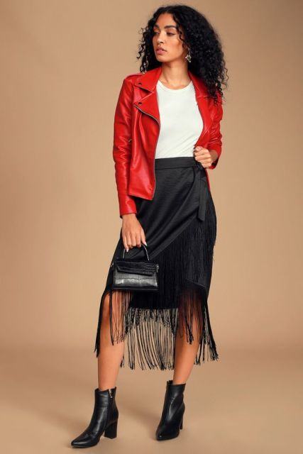 With white t shirt, red leather jacket, black mini bag and black ankle boots