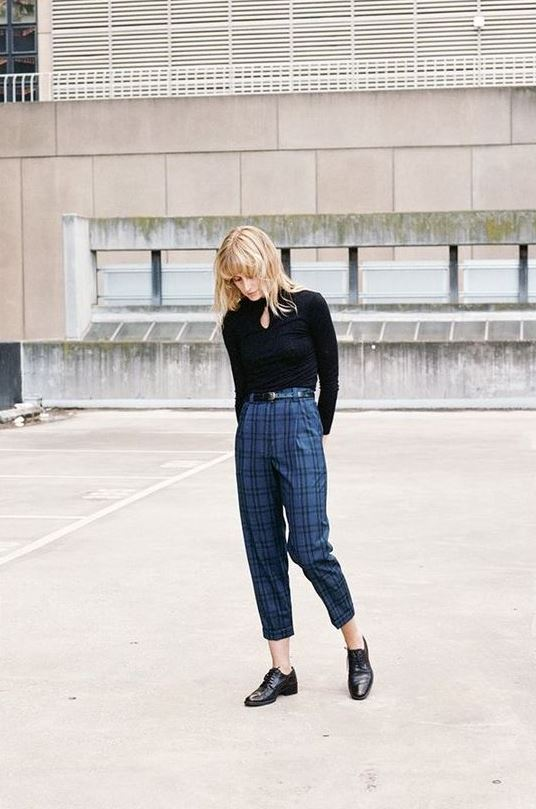 a black turtleneck, blue plaid cropped pants, black Derby shoes for a simple work outfit