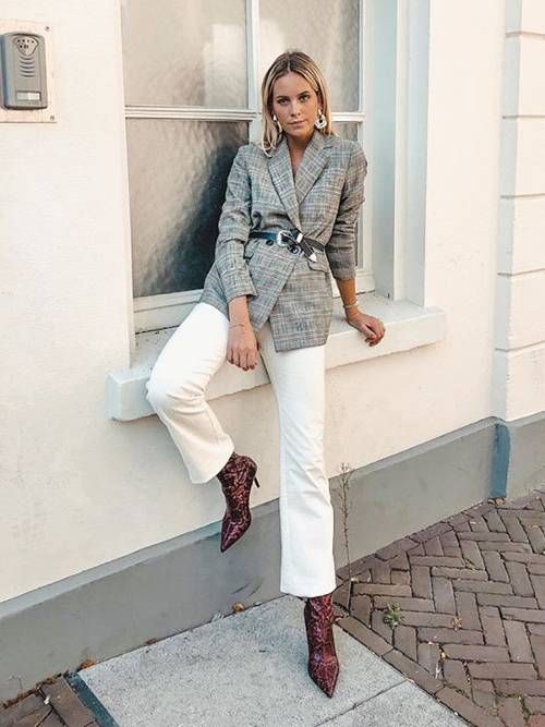 a comfy look with a camel turtleneck, a grey plaid blazer with a belt, white jeans, brown crocodile print boots