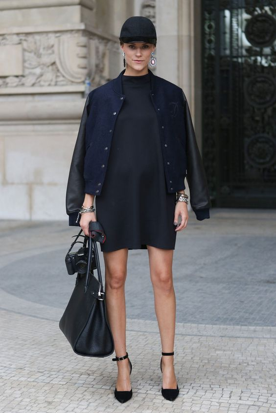 a creative look with a black mini dress, black shoes, a navy bomber jacket, a black baseball hat and a black tote