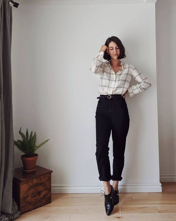 a neutral plaid shirt, black cropped pants, black Derby shoes for a simple and comfy work outfit