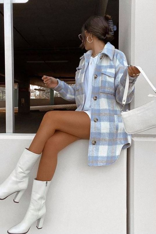 a white shirtdress, a blue plaid shirt jacket, white boots and a white baguette bag for spring
