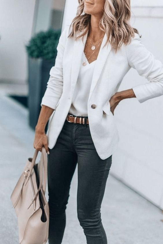 a white top, a white blazer, grey skinnies, a blush tote and layered necklaces for a spring look