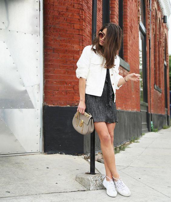 02 a black mini dress, a white denim jacket, white sneakers, a grey crossbody bag for summer