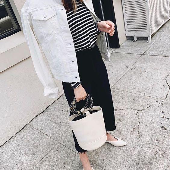 06 a striped top, a black denim midi skirt, a white denim jacket, white flats and a bucket bag