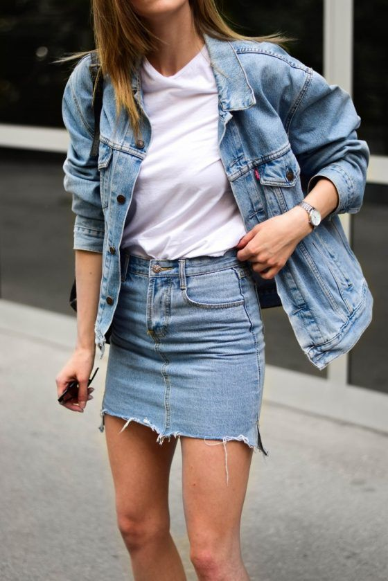 a simple spring or summer look with a white t-shirt, a blue denim jacket, a blue denim mini, a black bag