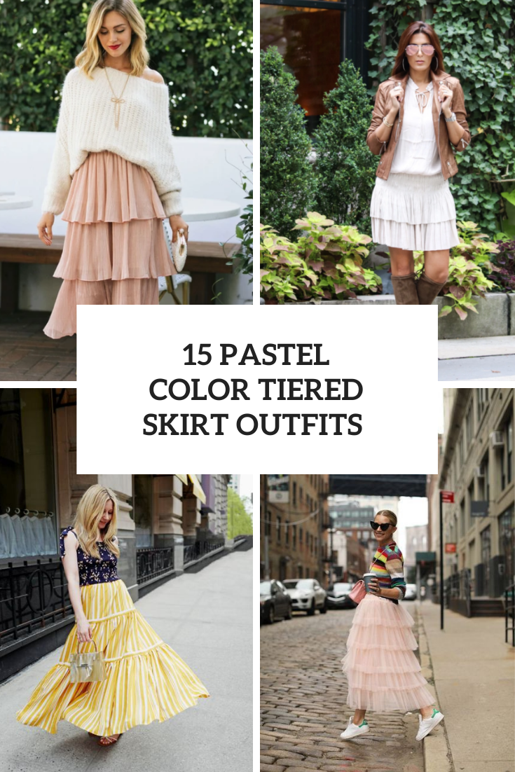 15 Looks With Pastel Color Tiered Skirts