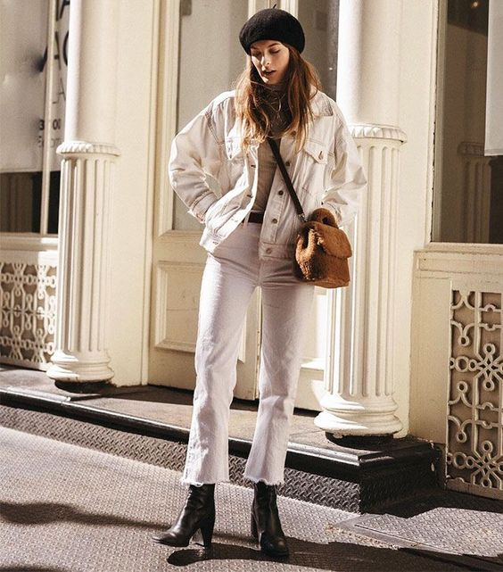 19 a white denim jacket and white jeans, black boots, a neutral top, a black beret for spring