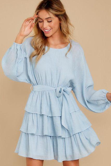 Light blue belted mini dress