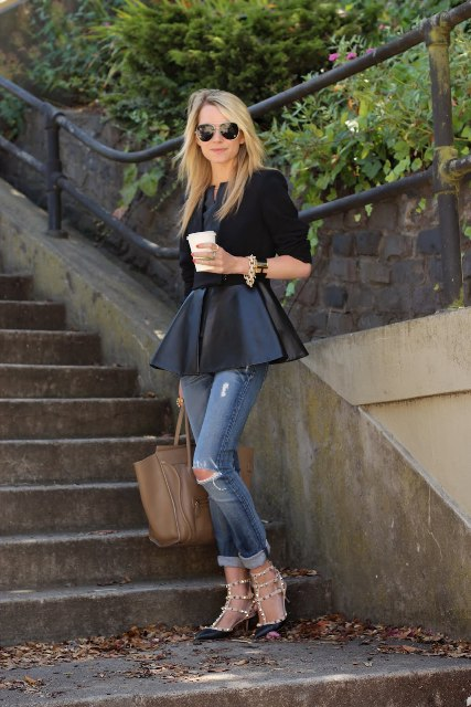 With black crop shirt, cuffed jeans, brown leather tote bag and black lace up high heels