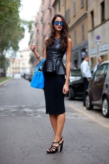 With cobalt blue bag, black knee-length skirt and black sandals