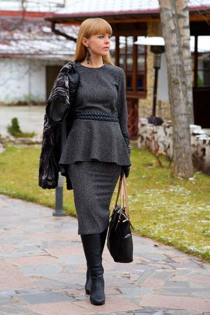 With gray tweed midi skirt, jacket, tote bag and black high boots