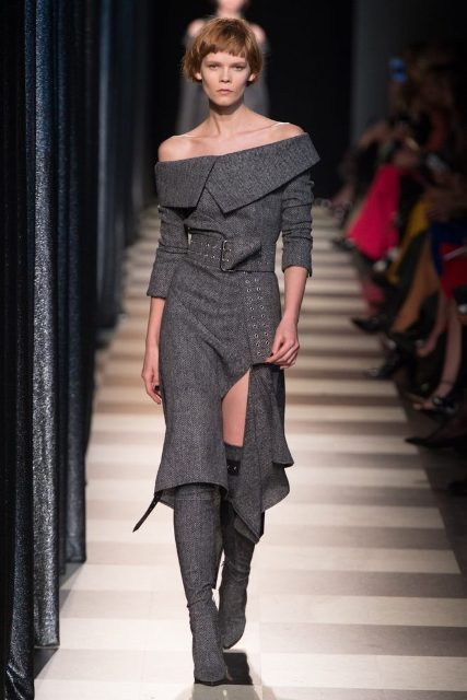 With gray tweed over the knee boots