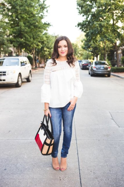 With jeans, colorful tote bag and beige shoes