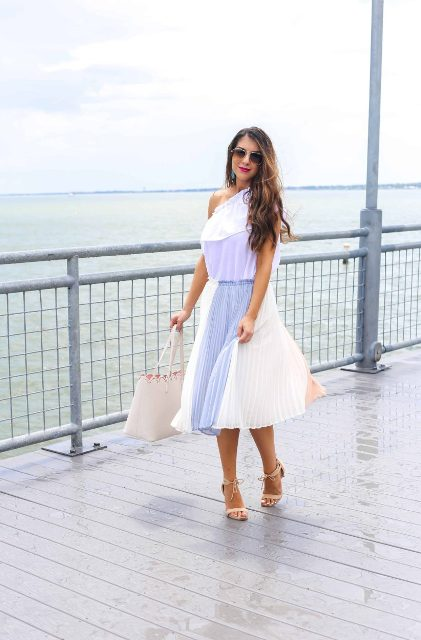 With one shoulder top, tote bag and beige low heeled sandals
