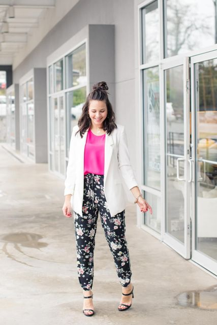 With pink satin top, white long blazer and black high heels