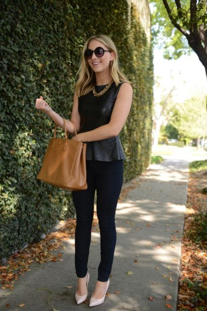 With skinny pants, brown leather bag and white pumps