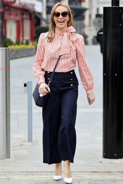 With white and red striped blouse, crossbody bag and white pumps